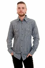 Mens Indie 70s 80s Retro New Vintage Aztec Navajo Western Chambray Denim Shirt