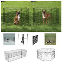 """SMALL AFFORDABLE Exercise Pens for Dogs & Pets - 24"""" Black Wire Ex Pen Play Yard"""