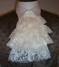 IVORY LACE CRAVAT Cuffs option Vampire Pirate Victorian Costume Jabot Prince