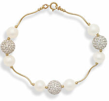 14k Gold Tube Freshwater Pearl and Swarovski Inspired Crystal Bracelet