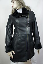 NEW 100% REAL GENUINE SHEARLING LEATHER BLACK COAT JACKET WINTER WARM FUR, XS-6X