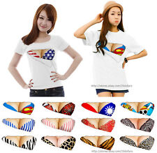 Womens Breast Graphic T-Shirt 3D Visual Tee Short Sleeve 100% Cotton Sexy Design