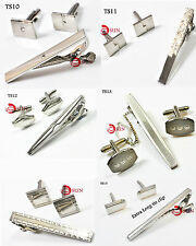 NEW MEN SILVER Color Part Wedding Tie Clip Pin Bar Cufflinks Cuff Links 2in1 set
