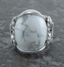 Sterling Silver Wire Wrapped Howlite Cabochon Ring