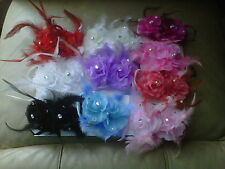 2 HAIR ROSE FLOWERS WITH JEWELS & FEATHERS - ELASTIC CONCORDE CLIP MANY COLOURS