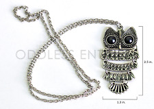 "Vintage Retro Dangle Style Big Eye Owl Animal Metal 26"" Chain Pendant Necklace"