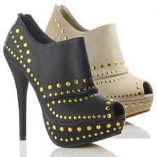 NEW WOMENS LADIES HIGH HEEL STUDDED FAUX LEATHER SANDALS SHOES SIZE