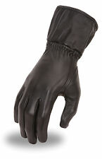 Ladies Leather Motorcycle Gauntlet Riding Glove w/ Cinch Tight Wrist FI122-GL