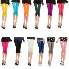 3/4 Leggings Trousers Pants Ice Silk For Women Girls Ladies All Colors One Size