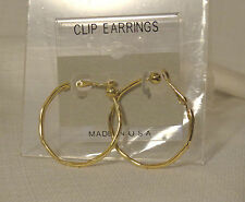 CLIP-ON EARRINGS THIN DESIGN HOOP EARRINGS SILVER OR GOLD TONE choose your size
