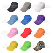 3 x  Adjustable Plain Colour Baseball Caps / Hats