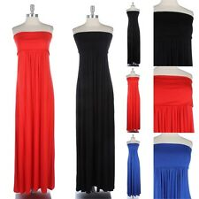 Junior Plus Size- Strapless Solid Tube Long Maxi Dress Foldover Full Length Span