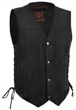 True Element Mens  Leather Motorcycle Vest with Concealed Carry Pocket (S-5XL)