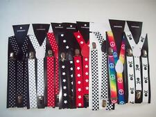 Braces / Suspenders- Stars, Spots, Checkers, Peace, Hippy or Skulls