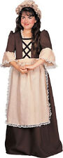 Colonial Girl Brown Historical Career Day Fancy Dress Up Halloween Child Costume