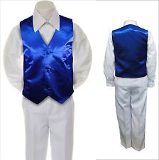 14 color Satin Vest Only Baby Toddler Kid Teen for Boy Formal Tuxedo Suit S-20