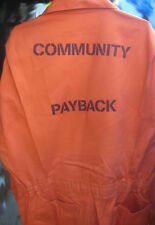 COMMUNITY PAYBACK  Jail Inmate Orange Jumpsuit Costume Prison Detention Service