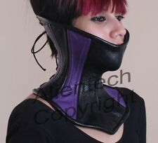 Real Leather Over Mouth Neck Corset Purple + Black