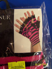 Skull & Crossbones Fingerless Gloves Striped Adult Costume Accessory 3 COLORS