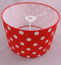 Hand Made Bright Red Cotton Lampshade With White Polka-Dot Design