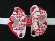 Red White Plaid Hello Kitty Ribbon Hair Bow Rhinestone Barrette Clip Headband
