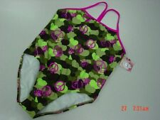 NWT Girls Op Plus Size Swimsuit Bathing Heart Shape Peace Signs One Piece Camo