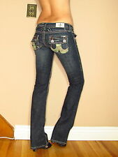 Laguna Beach Slim Bootcut Vintage Dark Hand Made Low Rise X-Long Jeans 24  25