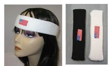 AMERICAN FLAG EMBROIDERED SPORTS HEADBAND  TERRY CLOTH, HEADWRAP