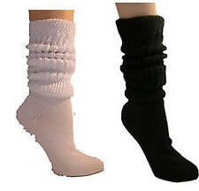 Ladies Heavy Cotton Slouch Socks 6 Pr Wh/Blk Avail
