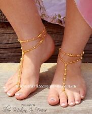 "Swarovski GOLD Pearl ""CLASSIC"" Barefoot Sandals + Anklets Beach Bridal 1 pair"