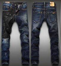 New Men Italy Style Runway Fashion with PU Leather Washed Jean Size 28-38 (D21)
