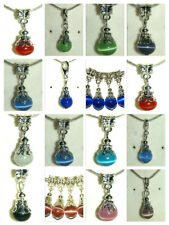 EUROPEAN STYLE MIXED COLOURS & SIZES CAT'S EYE BEAD DANGLE DROP BRACELET CHARMS