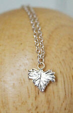 Beautiful! Delicate Grape Leaf Sterling Silver 925 Necklace Minimalist