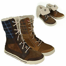 """LADIES TIMBERLAND Fur Lined Winter BOOTS PANNAWAY 6"""" Roll Down Check UK 2.5-6.5"""