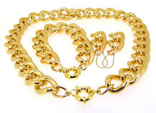 "17""18""20""-36"" SMOOTH GOLD ALUMINIUM CURB LINK CHAIN NECKLACE BRACELET EAR CHOKER"