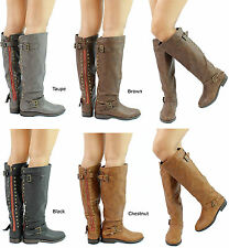New Bamboo Montage-83 Studed Contrast Zipper Knee Heigh Riding Boots Size 6-10