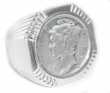 Man's sterling silver octagon dime coin ring with mercury dime