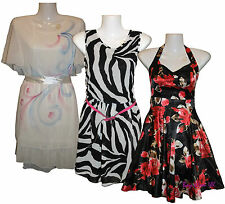 New Ladies Uneven Hem Print, Satin Flower Print Neck, Zebra Print Skater Dresses