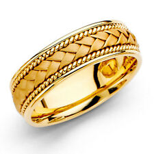14K Solid Yellow Gold 6mm Braided Rope Wedding Band Bridal Ring