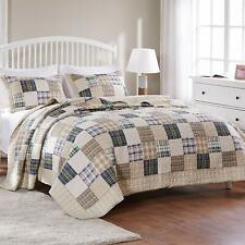 BEAUTIFUL TAN TAUPE BEIGE BLUE YELLOW RED COUNTRY CABIN PLAID COTTON  QUILT SET