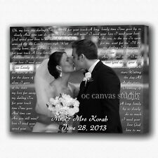 Wedding Custom Photos Print on Canvas - Gallery Wrapped - Ready to Hang  !