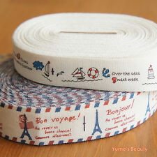 2 yards: Cotton Fabric Ribbon Summer Sailing & Eiffel French Printing Zakka