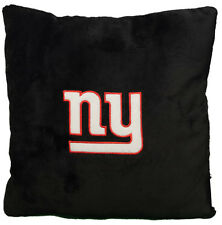 "New! Black NFL New York Giants 16"" x 16"" Fuzzy Plush Embroidered Throw Pillow"