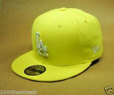 NEW ERA HAT 59FIFTY MLB FITTED BASEBALL CAP LOS ANGELES DODGERS YELLOW WHITE