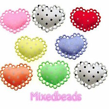 "*U PICK* 70-100 Satin Polka Dot 1"" Heart Lace Edge Padded Applique hair fabric"