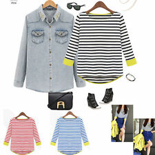 2013 New 3/4 Sleeve Striped Shirt Knitted Round Neck Blouse Tops HOT