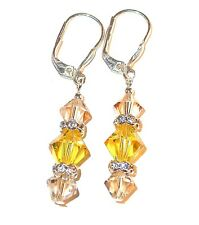 2-tone YELLOW Golden Shadow Crystal Earrings Sterling Silver Swarovski Elements