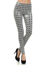 WOMENS BLACK AND WHITE PARTY SHINNY COATED LEGGINGS WITH A BANDED WAIST SIZE SML