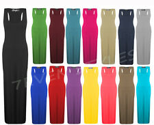 LADIES WOMENS JERSEY MUSCLE RACER BACK MAXI LONG VEST DRESS TOP SIZE 8 10 12 14