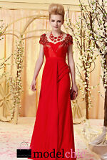 Red Chiffon Jewelled Evening Prom Bridesmaid Ball Wedding Gown Maxi Dress